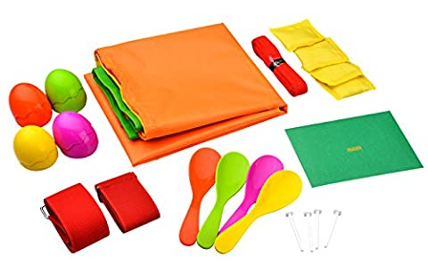 Sports Day Set - Complete Game Set, Includes Sack Race, Egg and Spoon, 3 Legged Race, Bean Bag Race, Bean Bag Toss - Jaques Of London
