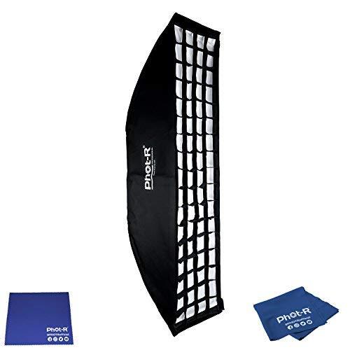 Phot-R Professionelle 30 x 140cm faltbar Strip Softbox mit Bowens Mk.VI Speedring & Wabenraster zu Foto Studio Lighting Flash + Microfibre & Chamois Tuch Strip Light Softbox