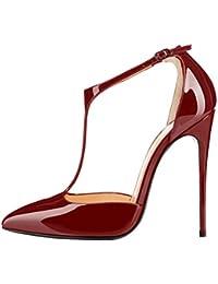 b3f5d4208a4 elashe - Escarpins Femmes - Chaussures Stilettos - 12cm Talon Aiguille -  Grande Taille - Escarpins Salomés - Courroie…