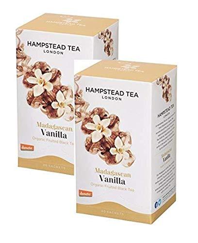Hampstead Tea London Té negro aromático de vainilla de Madagascar - 2 x 20 sobres (60 gramos)