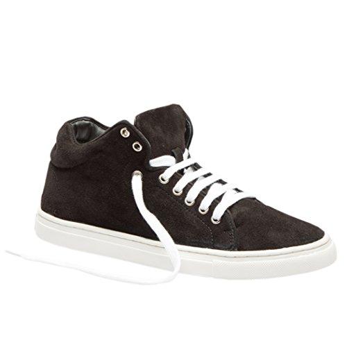 TEDISH Chaussures Femme Confortable Lacets Plat de Marche Cuir Outdoor Loisirs Dames Baskets Mode-TD003 Claire- Black