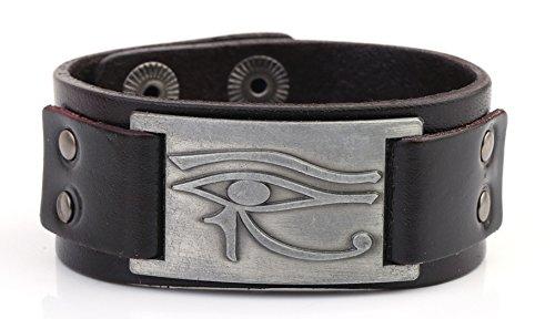 MY SHAPE Eye Of Horus RA Thoth Udjat Leder Manschette Armband Ägyptische Amulett Pagan Schmuck