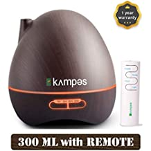 kampes Cool Mist Aroma Diffuser & Humidifier with remote and 20ml lemongrass oil (300 ml, Wooden Grain)