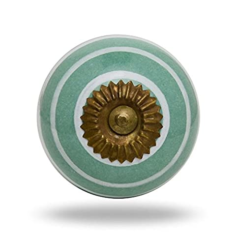 Ceramic Round Knob White Circles on Green Antique Finish Kitchen Cabinet Cupboard Door Knobs Home Decor Drawer Pull & Handle for Closet Wardrobe Dresser By