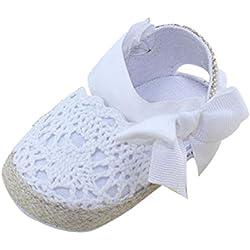 Tefamote Sandalias Zapatos de Suela Blanda Cuna Para Princesa Primeros Caminantes Bebé Recién Nacido Niño niña (11, Blanco)