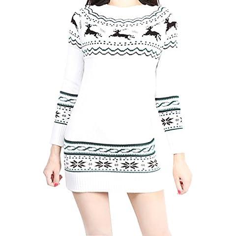 YoungSoul Vestidos de navidad para mujeres Jerséis de punto motivos navideños Sueter de manga larga con renos
