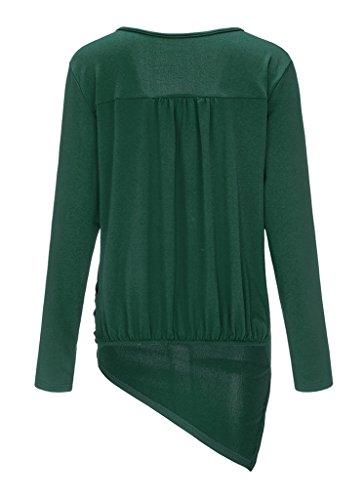 Smile YKK Damen Long Sleeve Unregelmäßig Schnitt Sweater Langärmshirt Oberteil Shirt Pullover Hemd Bluse Dunkelgrün