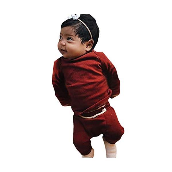MAYOGO Ropa para bebés Conjunto, Tops Camiseta Manga Largo + Pantalones Largos Color sólido Ropa Bebe Recien Nacido… 5