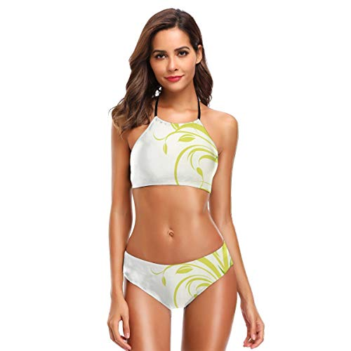 Women's Swimwear Sexy Halter Two Piece Bikini Sets Swimsuits,Bamboo with Artistic Floral Curly Leaves Asian Feng Shui Zen Garden XL,Bathing Suits -