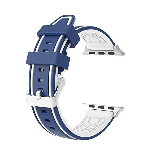 Replacement Apple Watch Band - Silicone Sport Straps Replacement Band with Classic Stainless Steel Buckle for Apple Watch 42mm Series 2 and series 1 (2 - Blue & White) (Stainless Steel Watch Band, White)