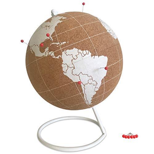 Globe Trekkers Mini-Kugel aus Kork, mit 50 roten Stecknadeln und robustem Stahlsockel, ideal für Reisen und pädagogische Zwecke, ohne Kunststoffstreifen