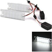 WINOMO Par de lámparas de luz de matrícula LED 12V para Opel Astra J Cascada Corsa D Insignia Meriva Tigra Zafira B (Luz Blanca)