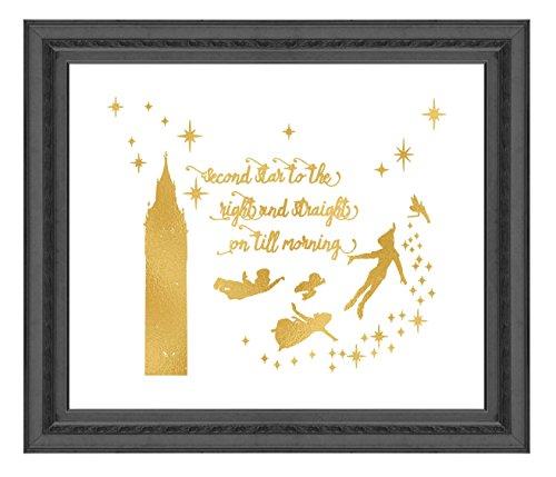 ld Print Inspiriert von Peter Pan-Gold Poster Druck Foto Qualität-Made in USA-Home Art Print-Rahmen Nicht im Lieferumfang Enthalten 11x14 Second Star ()