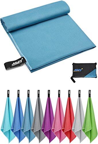 ACTiDRY Serviette en microfibre - légère et absorbante - 9 couleurs S M L XL - idéale pour la plage, le sport et les activités de plein air - S (40 x 80 cm) 2 pièces - bleu