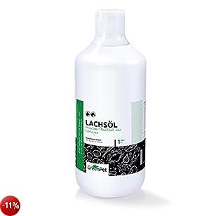 GreenPet Olio di Pesce 1L, Omega-3 Olio naturale di salmone per Cani e Gatti e Cavalli, Naturale ed Effiface