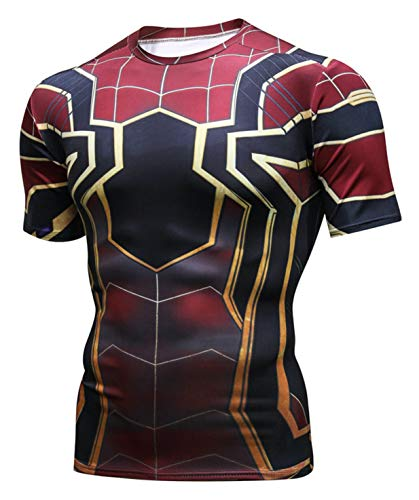 ck Kurzarm T-Shirt Muskelshirt Superhero Kampfanzug Spiderman AC109-08-M ()