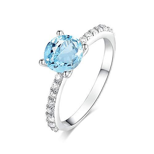 Amody Größe Sterling Silber Runde Form blau Topaz White Gold Runde Hochzeits Band Ring für Frauen 60 (19.1)