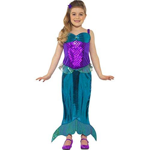 Kostüm Zubehör Meerjungfrau Halloween (Smiffy's 45478L - Kinder Mädchen Magisches Meerjungfrau Kostüm, Kleid und Haarband, Alter: 10-12 Jahre,)