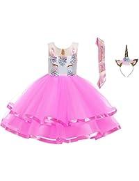 8e84507e9 LZH Unicornio Vestido de Niñas Flor Partido Vestido De Princesa Cumpleaños  Cosplay