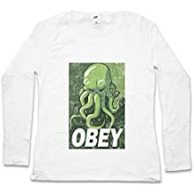 CTHULHU OBEY MUJER WOMAN T-SHIRT DE MANGA LARGA – Arkham Miskatonic HP Dunwich University Lovecraft Wars Horror Tamaños XS – 2XL