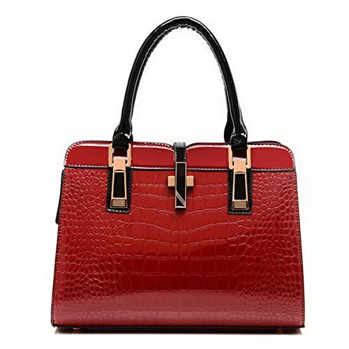 Damen-Umhängetasche, PU-Leder-Umhängetasche Große Damen-Umhängetasche Mit Mehreren Innentaschen Und Schultergurt (Rot) - Große Metall-griff-stütze