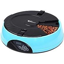 Amzdeal Futterautomat Katze Timer, Automatischer Futterspender Katze und Hund, mit 6 automatischen Futterschalen, LCD-Display und Sprachaufzeichnungsfunktion, Kapazität 6 x 330ml