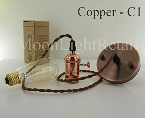 Vintage industriel Edison Support de lampe E27 à vis Ampoule nue Set complet sans ampoule – Cuivre