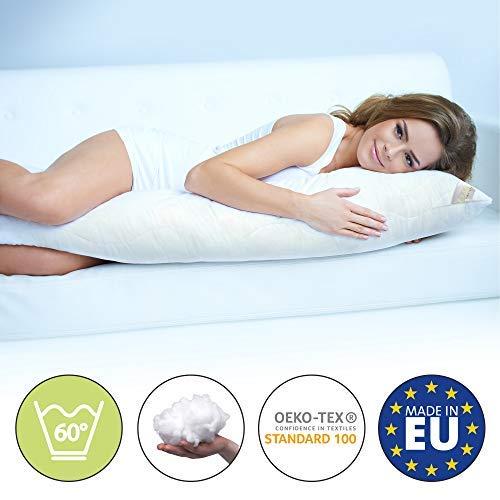 Beautissu Komfort Seitenschläferkissen 145cm BeauNuit SK – Premium COOL Seitenschläfer Kissen Lagerungskissen Schwangerschaftskissen