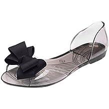 Sandales Femme Plates Nœud Papillons Transparant Mode Noir GQHItqb