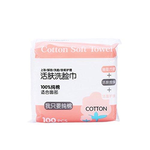 Frcolor Lot de 100 serviettes jetables en coton avec housse de rangement