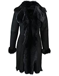Laides Black Suede 3/4 Spanish Toscana Fur Sheepskin Leather Jacket Coat