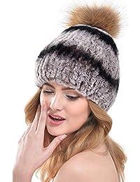 VEMOLLA Cappello per Donne in Pelliccia di Coniglio Rex con Grande PON PON  in Pelliccia di a9dd3746e931