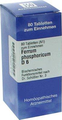 Homöopathische Zelle Salze (BIOCHEMIE 3 Ferrum phosphoricum D 6 Tabletten 80 St Tabletten)