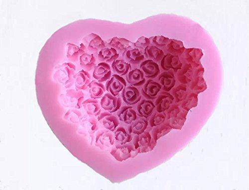 Goliton® Herz Rose Blumen förmige 3D DIY Silikon Rollfondant Dekoration Kuchen Form Back Modell Backform Gelee Seife Schokolade Bonbons Lutscher Schimmel - Pink (Blumen Schimmel Schokolade)