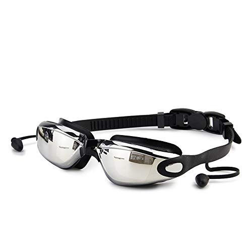 LINGKY Silikon Schwimmbrille - Wasserdichte, Beschlagfreie Und UV-Schutzbrille, Großer, Gerahmter Körper Mit Ohrstöpseln Ohne Undichte Brille Entworfen Für Männer, Frauen Und Kinder