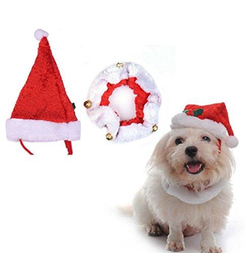 (Cupcinu 1PCS Weihnachten Pet Hund Katze Kätzchen Hat Weihnachten Bell Halsband Kostüm Gifts Santa Hat Halsbänder Krawatte mit Glocken Katze Hund Weihnachten Kostüm-Set)