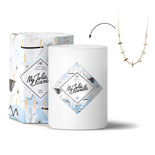 MY JOLIE CANDLE • Bougie Parfumée avec Bijou Surprise à l'Intérieur • Cadeau : Collier Or • Parfum Linge Frais • Edition Gold • Cire Naturelle 100% Végétal