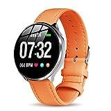 Leder Smartwatch Damen Herren Frauen mit Pulsmesser GOKOO Bluetooth Sportuhr Fitness Armband Aktivitätstracker Pulsuhren mit Schrittzähler Pulsmesser Schlafmonitor für Android IOS Orangenfarbig