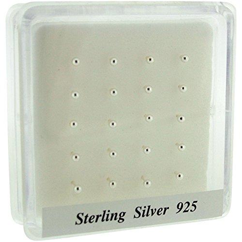 Piercing a perno da naso, in argento sterling, set di 20pezzi, con pallina semplice da 2mm