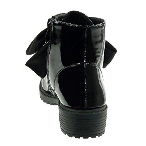 bloc femme Noir Bottine pluie Angkorly perforée bottes Intérieur CM 3 Fourrée Chaussure Talon Mode verni motard noeud de 7wRRB0fq