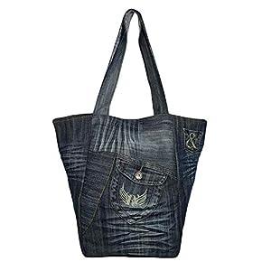 Große Handtasche Damen, Einkaufstasche faltbar, Schultertasche Damen aus alten Jeans, Jeansstoff Shopper Damen Groß, Leichte Damen Tasche, Denim Tote Bag