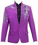 Blazer Herren Anzug Tuxedos Smokingsakko Anzuege 1 Teilig Anzug Sakko Classic Partei Männer Anzugjacken Mit Stickereien Jungs (Color : Lila, Size : L)