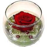 Tamaño de bola de cristal, diseño de rosa roja estabilizada