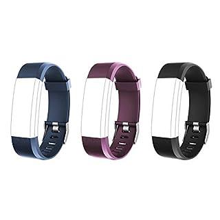 Lintelek TPE Replacement Straps Fitness Tracker ID115 PLUS Pack 3-Black&Blue&Purple