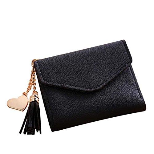 Handtasche Damen Btruely Kurze Brieftasche Quaste Mädchen Leder kleine Mini Brieftasche Halter Zip Geldbörse Clutch Handtasche Lange Geldbörse Leder Brieftasche (Schwarz) -