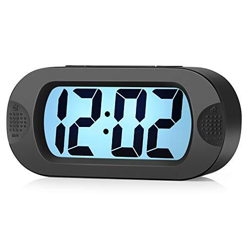 Einfach Einzustellen, Plumeet Großer Digitaler LCD-Reisewecker, Mit Schlummermodus und Nachtlicht, Ansteigendem Soundalarm & Handgerät-Größe, Bestes Geschenk Für Kinder (Schwarz)
