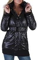 Jacke Damen Mantel Winterjacke mit Gürtel und Fellkragen in Schwarz 36/S - 42/XL