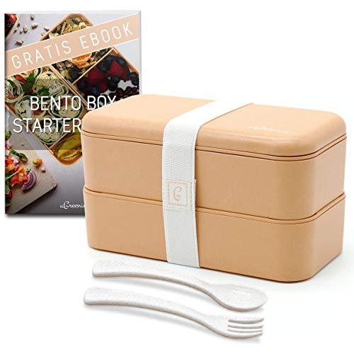 aGreenie die japanische Premium Bento Box - Eco Lunchbox - Brotdose für Kinder und Erwachsene - praktische Unterteilung in 4 Fächer - auslaufsicher - BPA frei - inkl. Besteck und gratis E-Book Bento-box