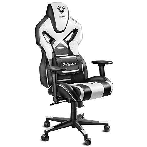 Diablo X-Fighter Gaming Stuhl Bürostuhl Verstellbare Armlehnen 3D Lendenkissen Wippfunktion Kunstlederbezug Perforiert Farbwahl (Schwarz-Weiß)