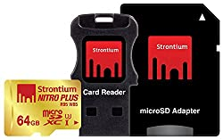 Strontium Nitro Plus 64GB UHS-I Class 3 MicroSDXC Card with Reader and Adapter (SRP64GTFU1C)